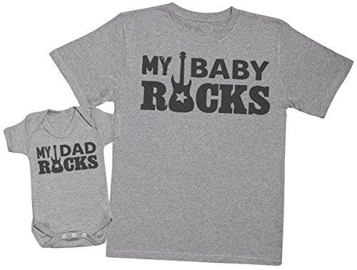 Zarlivia Clothing My Dad Rocks, My Baby Rocks - Regalo para Padres y b