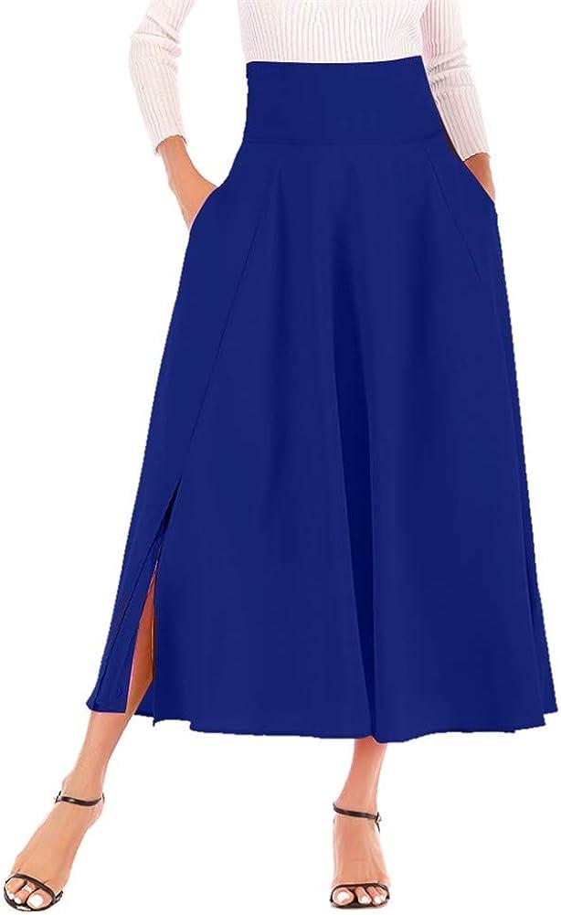 Vakkest Women's Casual Flowy Dress Long Maxi Skirt High Waist Retro Pleated Midi Skirt with Pockets and Waist Belted