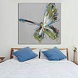 WZYYHH Handgemaltes Ölgemälde Leinwand Grün Schmetterling Wandkunst Moderne Abstrakte Tiergemälde