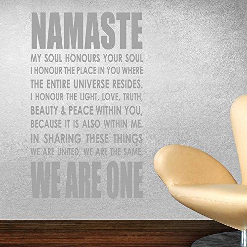 THE VINYL BIZ Namaste Wandaufkleber Wandtattoo Wall Sticker Yoga om Quote Art l3 - grau