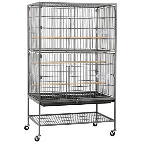 Topeakmart Wrought Iron Large Flight Parrot Bird Cage for Multiple Parakeets