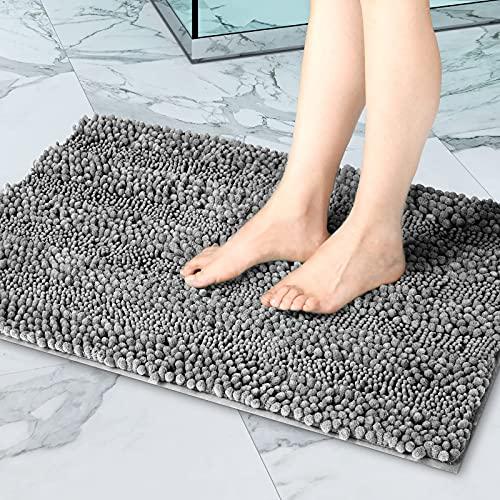 i@HOME Badematte, rutschfest Saugfähig Weicher Hochflor Badewanne Badezimmer Teppich, Weiche Chenille Badematte Grau 40 x 60 cm