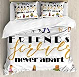 Double Size Bedding Duvet Cover Set Dog Saying Cover Set, Friends Forever Never Apart Wording with Humans Walking Their Pets, Decorative 3 Pcs Bedding Set, Charcoal Grey Multicolor