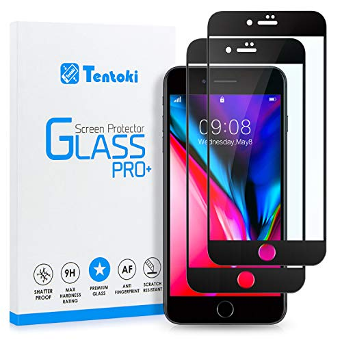Tentoki iPhone 7 Plus / 8 Plus Screen Protector, [2 Pack] HD Full Coverage Tempered Glass Screen Protector, Edge to Edge Protection Screen Film for iPhone 7/8 Plus - Black