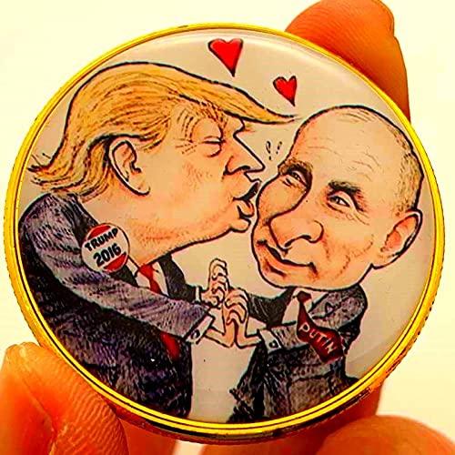 SHFGHJNM Moneta Raccolta da Collezione Display Presidente degli Stati Uniti Trump placcato oro fumetti moneta Putin Memorial Coin Collection Coin Processo Memorial
