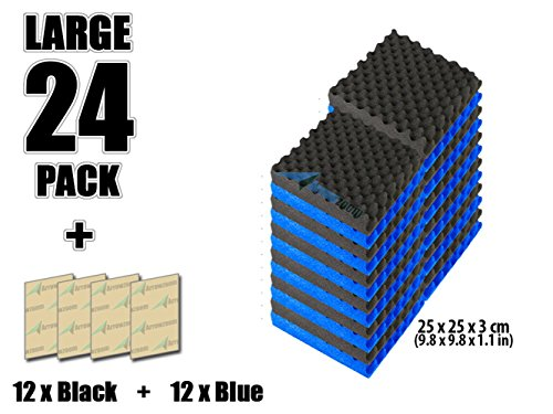 Super Dash (Pacco da 24) di 25 X 25 X 3 cm Combinazione Blu & Nero Convoluted Eggcrate Schiuma Fonoassorbenti Isolanti Studio Acustici Piastrelle Pannelli SD1052 (BLU & NERO)