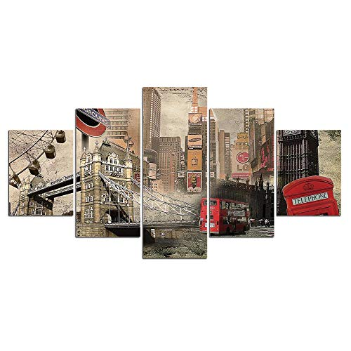 JKZHILOVE 5 Stücke Leinwandbilder auf Altstadt, Bilddruck auf Leinwand für modern Wandbilder Wohnzimmer Schlafzimmer Büro Dekoration - kann aufgehängt - Kunstdruck 100x55CM