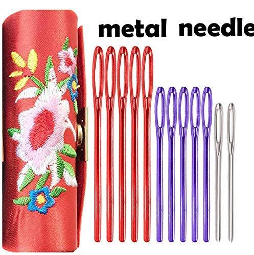 RosaDIY 12er-Pack Stumpfe Nadeln mit großem Öhr, Stahlgarn, Stricknadeln, Nähen, Stopfen, Tapisserie, Finishing-Nadeln für Wollgarn mit Faden