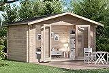 Alpholz Gartenhaus Mirko Modern aus Massiv-Holz | Gerätehaus mit 28 mm Wandstärke | Garten Holzhaus inklusive Montagematerial | Geräteschuppen Größe: 400 x 300 cm | Satteldach