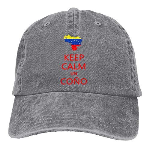 Gorra de béisbol Camionero para Hombres, Keep Calm Un Cono SOS Venezuela Unisex Low Profile Washed Baseball Caps Adjustable Dad Hat