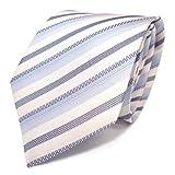 feine Mexx Krawatte Seide blau grau weiss gestreift
