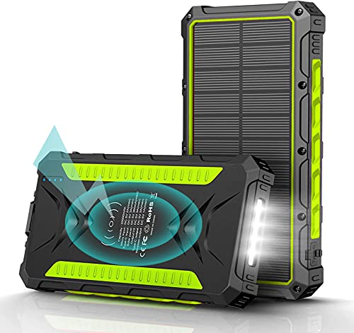 Power Bank Solar 30000 mAh Cargador Portátil Inalámbrico Qi Batería Externa Solar con 3 Puertos de Salida (3USB + Qi) y Linterna de 34 LED, 2 Modos de Carga (Solar + USB) para Camping Android iOS