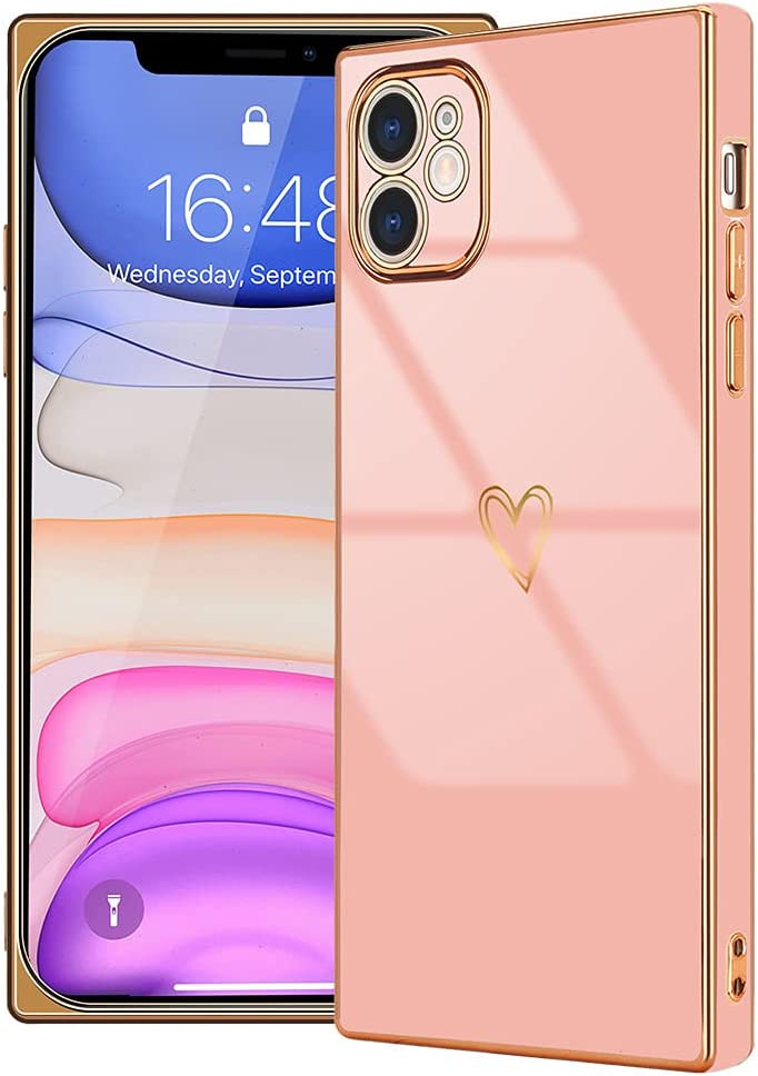 LAPOPNUT Compatible with iPhone 11 Case for Women Girls, Square Cute Love Heart Camera Protection Shockproof Electroplate Edge Soft Bumper Silicone Phone Case Cover for iPhone 11 Pink