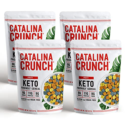 Catalina Crunch Fruity Flavor Keto Cereal 4 Pack (8oz Bags) | Low Carb, Sugar Free, Gluten Free, Grain Free | Keto Snacks, Vegan, Plant Based Protein | Breakfast Protein Cereal | Keto Friendly