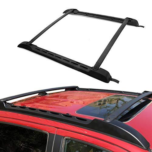 Baca Coche Universal Rieles del techo Black Roof Rack Barras cruzadas Conjunto para Portador de equipaje doble 1