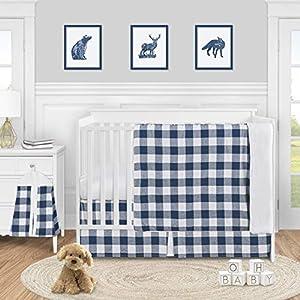 Sweet Jojo Designs Navy Buffalo Plaid Check Baby Boy Nursery Crib Bedding Set – 4 Pieces – Blue and White Woodland Rustic Country Farmhouse Lumberjack
