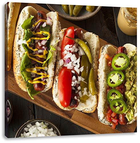 American hot dogsCanvas Foto Plein | Maat: 70x70 cm | Wanddecoraties | Kunstdruk | Volledig gemonteerd