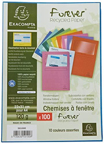Exacompta 50100E Fenstermappen Packung, 100 Stück, mit Organisationsdruck aus Recycling-Karton 120 g, forever, Din A4, farbig sortiert