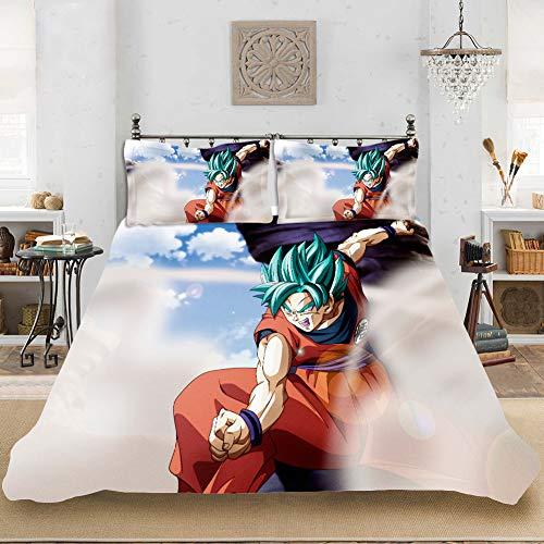 XIAOMA Juego de cama 3D Dragon Ball Anime con funda nórdica Super Manga Anime y funda de almohada para niñas niños niños Anime ropa de cama (A12,135 x 200 cm)