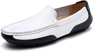 LFSP Mens Penny Loafers Boat Shoes Driving Loafer for Men Boat Moccasins Slip On Style OX Leather Personality Splices Round Handmade Flats A (Color : Black White, Size : 40 EU)
