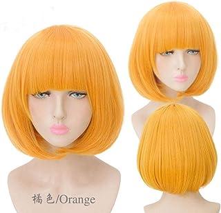 FHKGCD Perruque Synthétique Orange Haute Température Courte Droite Rouge Brun Blanc Blond Cosplay Bob Orange