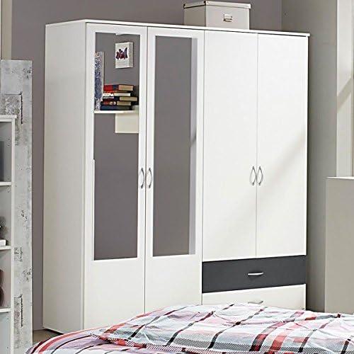 Kleiderschrank Weiss Grau 4 B 168 Cm Schrank Drehturenschrank