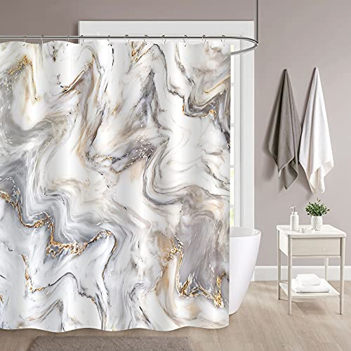 """MitoVilla Gray Marble Shower Curtain Set with Hooks, Abstract Grey Gold White Striped Marble Bathroom Decor for Men and Women, Waterproof Washable Fabric Art Decor Shower Curtain, 72"""" W x 72"""" L"""
