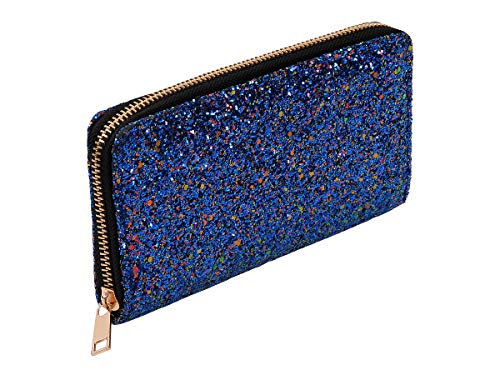 Alsino Portamonete | Portafoglio | 19 x 10 x 2 | Glitter | Chiusura Zip | Ragazza | Donna | Fashion | Design, BT-306 Glitter Blu Rosso