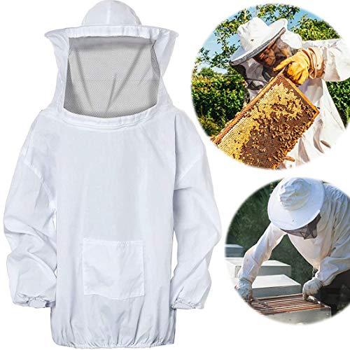 Traje de Apicultura,Algodón Traje de Apicultura Protectora de Traje Chaqueta Ventilado para Apicultor Velo Apicultura Apicultor Equipo de Protección con Sombrero (Blanco)