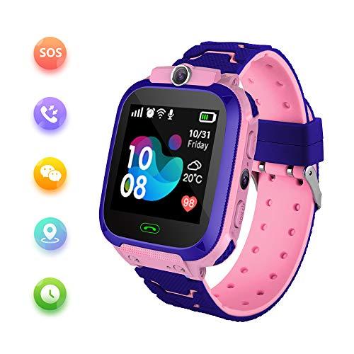 Smart Watch für Kinder mit LBS-Positionierung - SOS Anti-Lost-Smartwatch-Telefon für Kinder Kompatibel für Android iOS mit Voice-Chat-Alarmspiel Taschenlampe für Jungen Mädchen Geburtstagsgeschenke