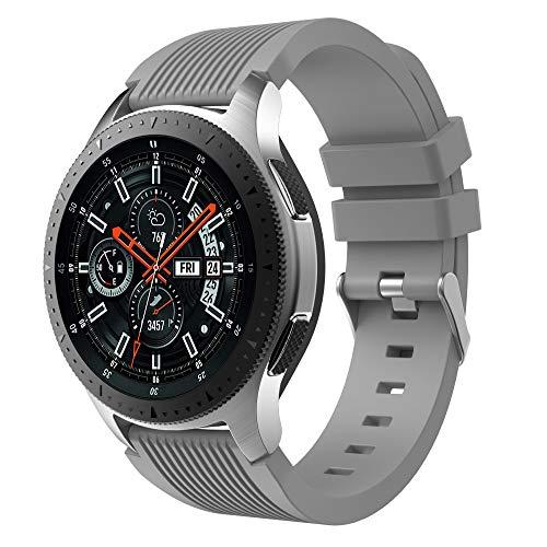 Aimtel Intel Kompatibel mit Galaxy Watch (46mm) Uhrenarmbänder, 22mm weiches Silikon Sportband Ersatzarmband Quick Release Pin (Gery)