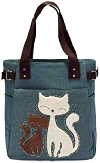 Wukong Womens Canvas Tote Bag Messenger Bags Cute Cat Shoulder Satchel Purse(Green)