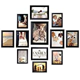 Homemaxs Cadres photo avec photo avec kit de galerie murale pour mur et maison (lot de 12) 4x6, 5x6, 6x8, 8x10 Noir