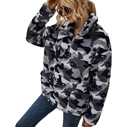 Hoodieswj Sweatshirt Damen Jacke Outwear Warm, Wollfleece, Reißverschluss, Baumwolle, Dick, Trenchcoat, Lässig, Herbst, Winter,Grau,S