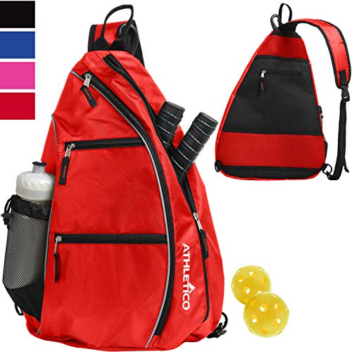 Athletico Sling Bag - Crossbody Backpack for Pickleball, Tennis, Racketball, and Travel for Men and Women (Red)