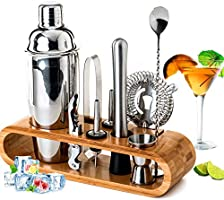 BRITOR Cocktail Shaker Set Bartender Kit,10-Piece Bar Tool Set with Bamboo Stand - Stainless Steel Bartender Set with...