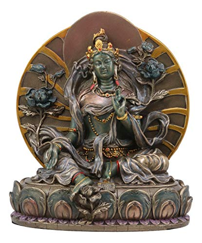 Ebros Buddhism Arya Khadiravani Green Tara Meditating On Lotus Throne Statue 6