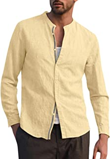 Gergeos Fashion Men's Linen Shirts Solid Color Long Sleeve O-Neck Turn-Down Collar Shirts Casual Dress Shirt