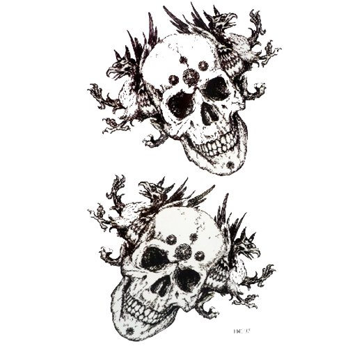 King Horse Black and white skull sweat and water resistant cool male tattoo sticker (tatuajes temporales)