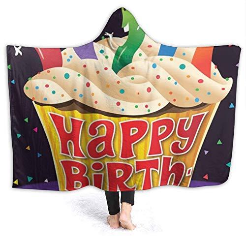 ZHENGYUAN Manta de bebé portátil con capucha con texto en alemán 'Alles Gute zum Geburtstag Cupcakel Cape Cloak', albornoz para hombre, reversible, de franela con mangas, 80 × 60 cm