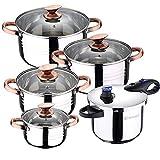 Bateria de cocina 8 piezas apta para induccion SAN IGNACIO Altea en acero inoxidable con olla a...