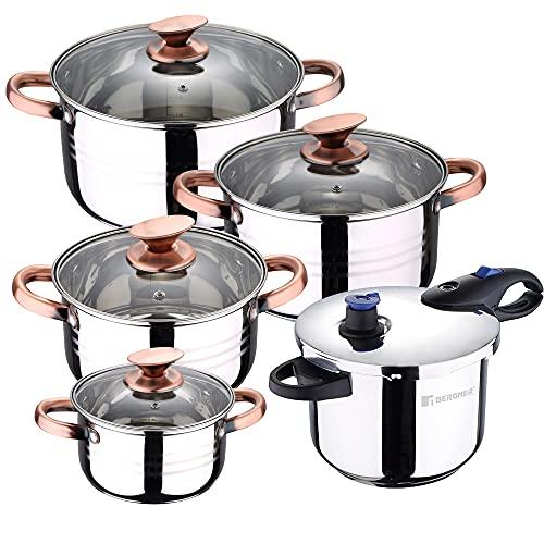 San Ignacio Bateria de cocina 8 piezas apta para induccion, Altea en acero inoxidable con olla a presion 6L de acero inoxidable Jumpy, PK3248