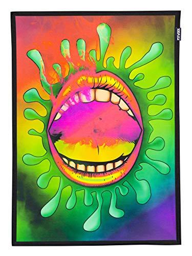 PSYWORK Schwarzlicht Stoffposter Neon Smoking Lips, 0,5x0,7m