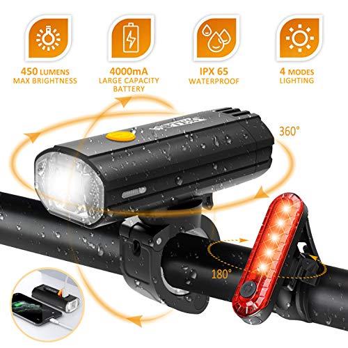 WOTEK Luci Bicicletta LED Luce Bici Set Fanalini Anteriori e Posteriori Fanale Bici Impermeabile MTB Luce Bici Posteriore Super capacità 4000mAh 450LM Ricaricabili USB Sicurezza di Ciclismo e Strada
