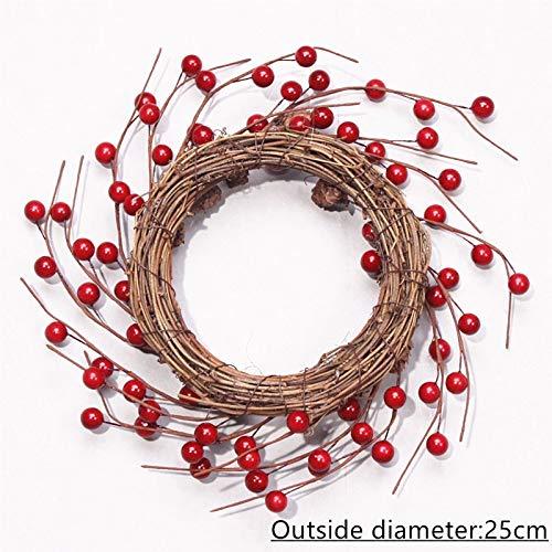 Bureze Nieuwe kunstmatige krans rode bes krans gedroogde bloem katoenen krans deur eucalyptus krans kaars tuin Kerst decor geschenk