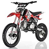 125cc Adults Dirt Bike with 4-Speed Manual Transmission, Double Spare Frame! Kick Start, Big 17'/14' Tires! Not Legal in California (Red)