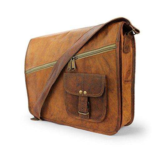"""A.P. Donovan - Leder-Notebook-Tasche 15\"""" Umhängetasche Herren braun für Studium, Büro, Arbeit - Business-Laptop-Umhänge-Tasche mit Zubehörfach"""