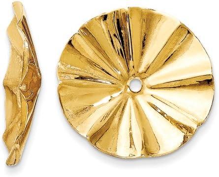 14K Yellow Gold Polished Fancy Earring Jackets