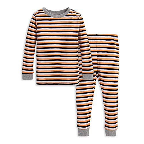 Burt's Bees Baby Baby Boy's Pajamas, Tee and Pant 2-Piece PJ Set, 100% Organic Cotton, Halloween Stripe, 24 Months