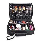 MelodySusie Travel Makeup Bag Makeup Train Case Potable Cosmetic Organizer Case 3 Layers with Adjustable Shoulder Strap (Update) (Medium 2)